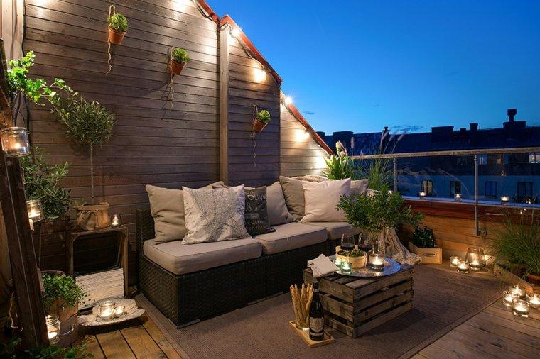 terrazas decoradas iluminadas balcon velas ideas