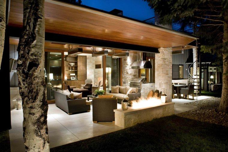 terrazas decoradas iluminadas lugar fuego farolas ideas