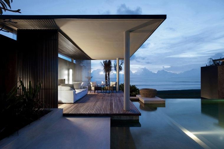 terrazas decoradas iluminadas piscina grande ideas