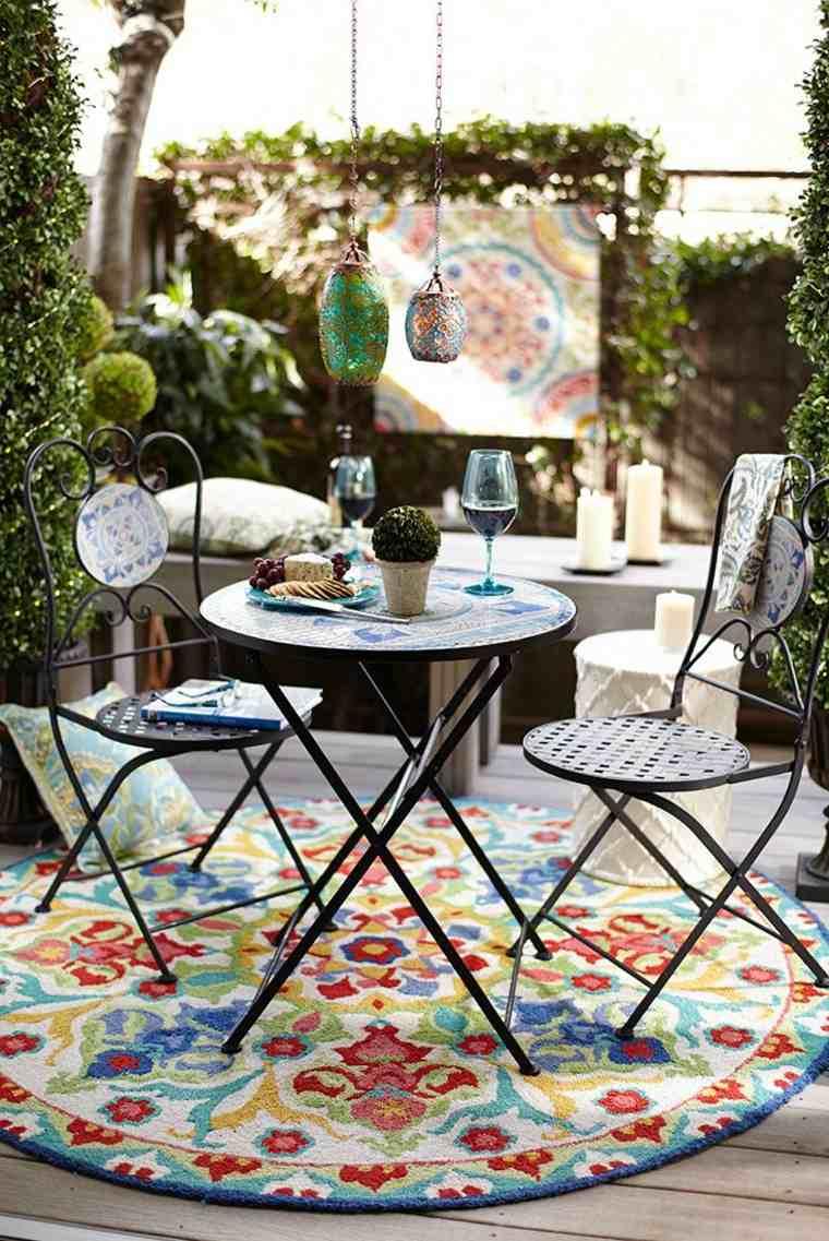 terrazas estrechas alfombra llamativa aire libre ideas
