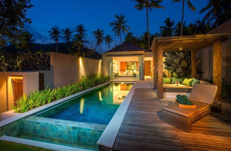 terrazas iluminadas jardin moderno amplio ideas