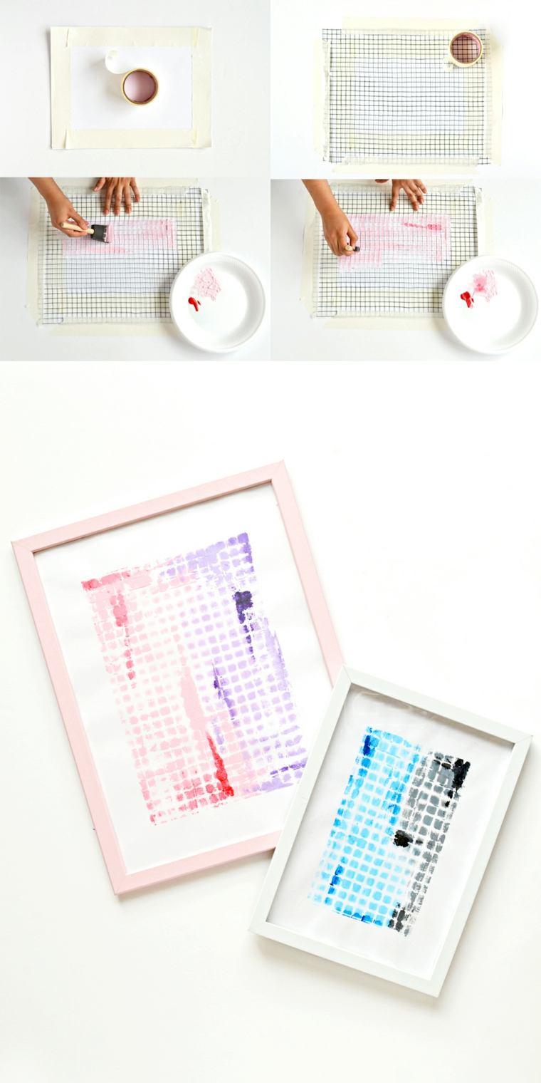 trabajos manuales proyectos DIY arte abstarcto decorar ideas