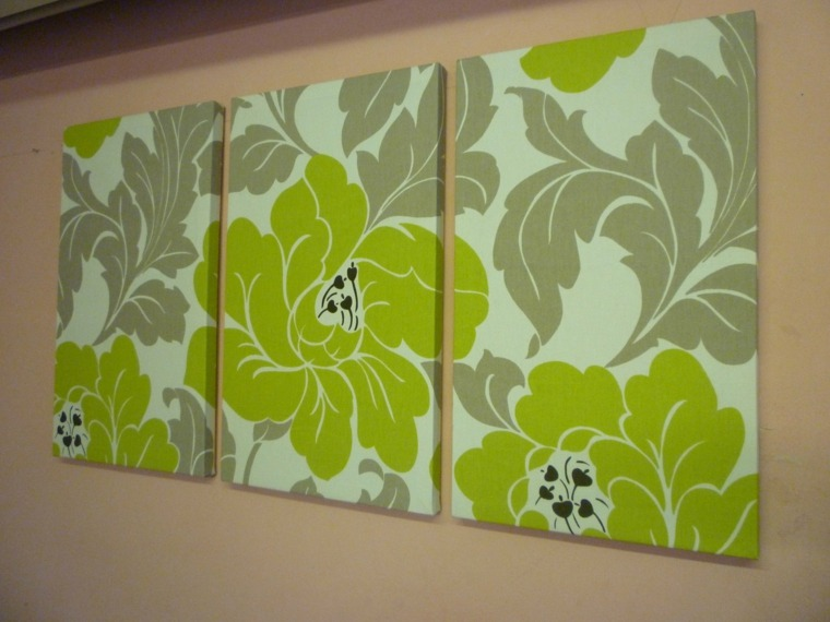 tres cuadros flores verdes modernas