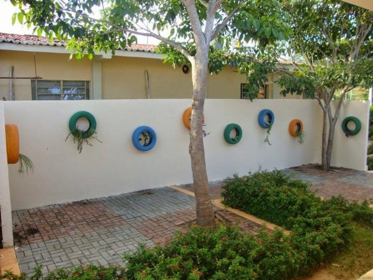 usar ruedas decoración jardin