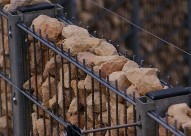 valla metal piedras rocas gavion