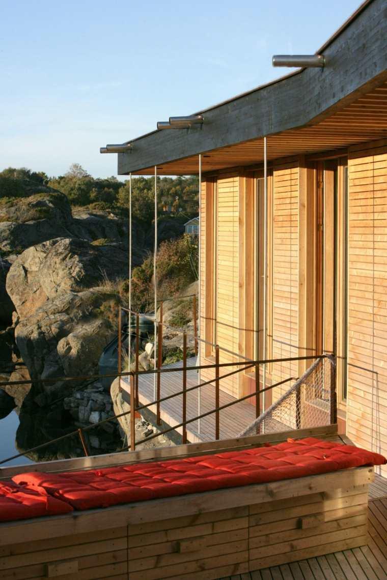 vistas casa terraza banco acolchado