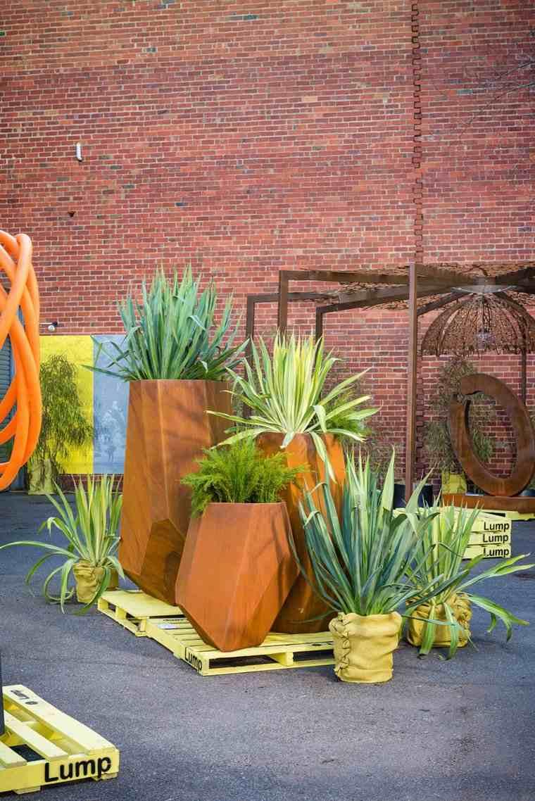 acero corten diseno decoracion jardin elementos grandes ideas