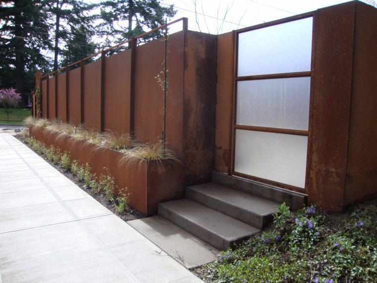 acero corten diseno decoracion jardin entrada casa ideas
