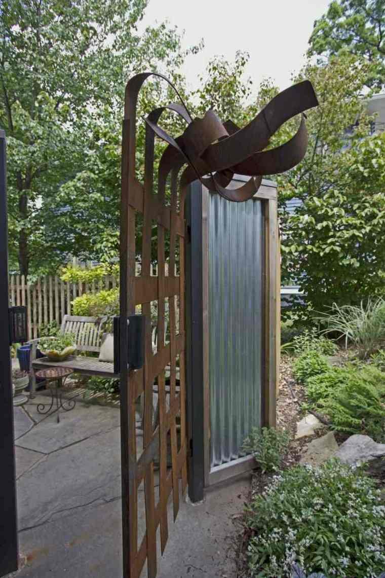 acero corten diseno decoracion jardin entradas puertas ideas