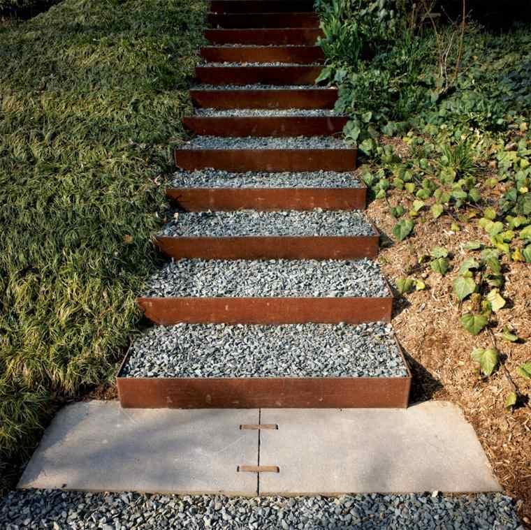 acero corten diseno decoracion jardin escaleras ideas