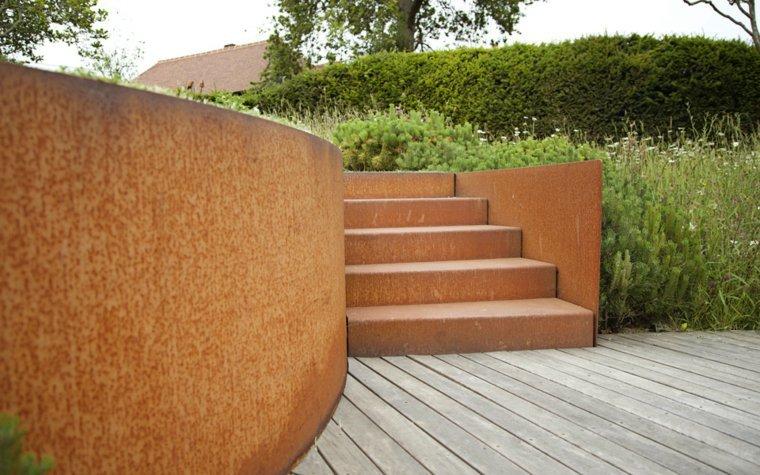 acero corten diseno decoracion jardin opciones escaleras ideas