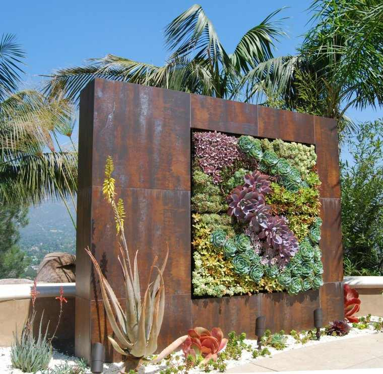 acero corten diseno decoracion jardin vertical ideas