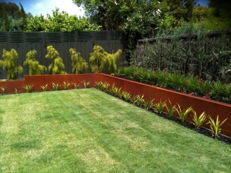 acero corten disenos decoraciones jardin amplio ideas