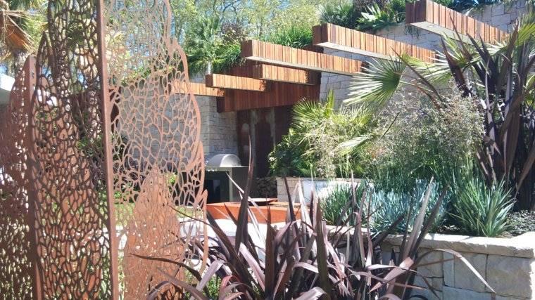 acero corten disenos decoraciones jardin moderno ideas