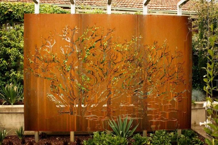 acero corten disenos decoraciones jardin pared ideas