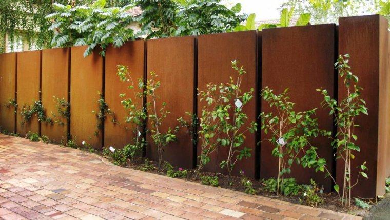 acero corten disenos decoraciones jardin valla ideas