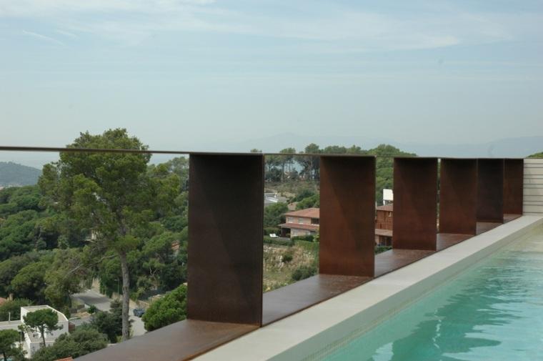 acero corten piscina diseno jardin moderno ideas