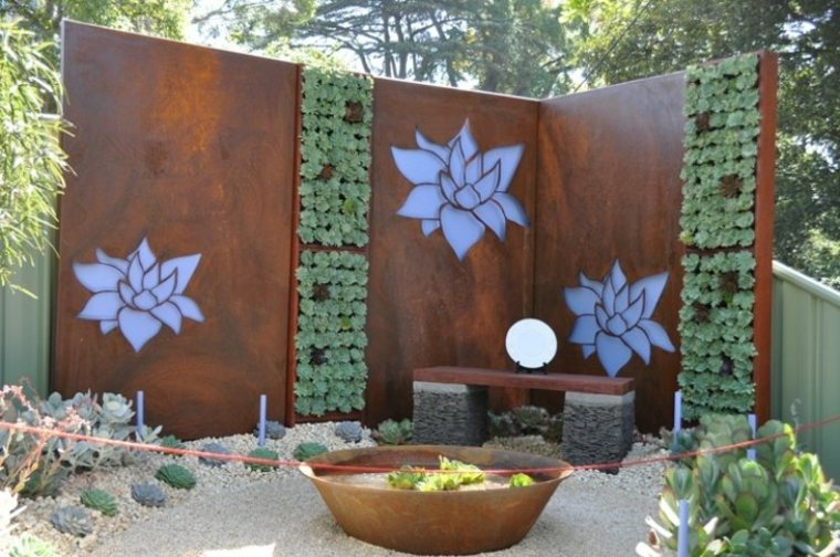 acero puro corten jardin paneles decoracion flores ideas