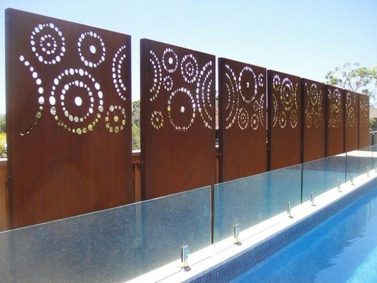acero puro corten jardin paneles decoracion motivos geometricos ideas