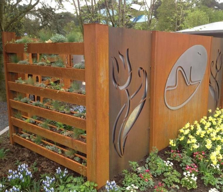 acero puro corten jardin vallas decoracion combinacio estmpas ideas