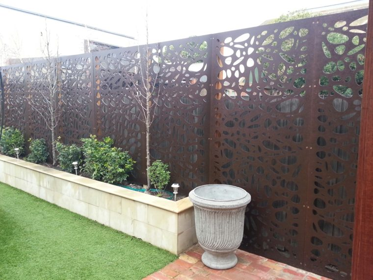acero puro corten jardin vallas paneles decoracion ideas