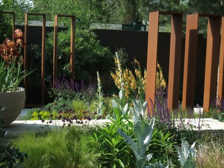 acero puro corten jardin vallas paneles jardin plantas ideas