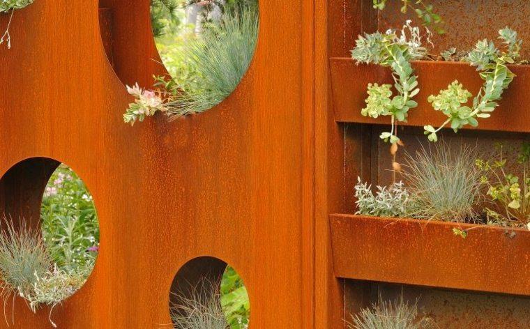 adornos jardineras verticales jardin corten