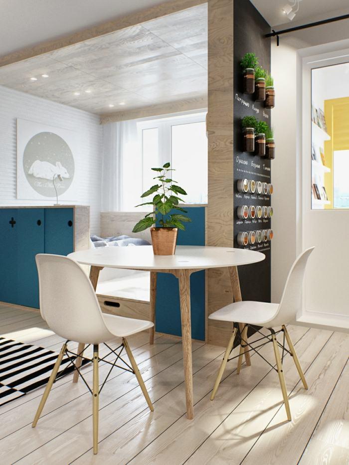 apartamento distribucion cojines espacio azules