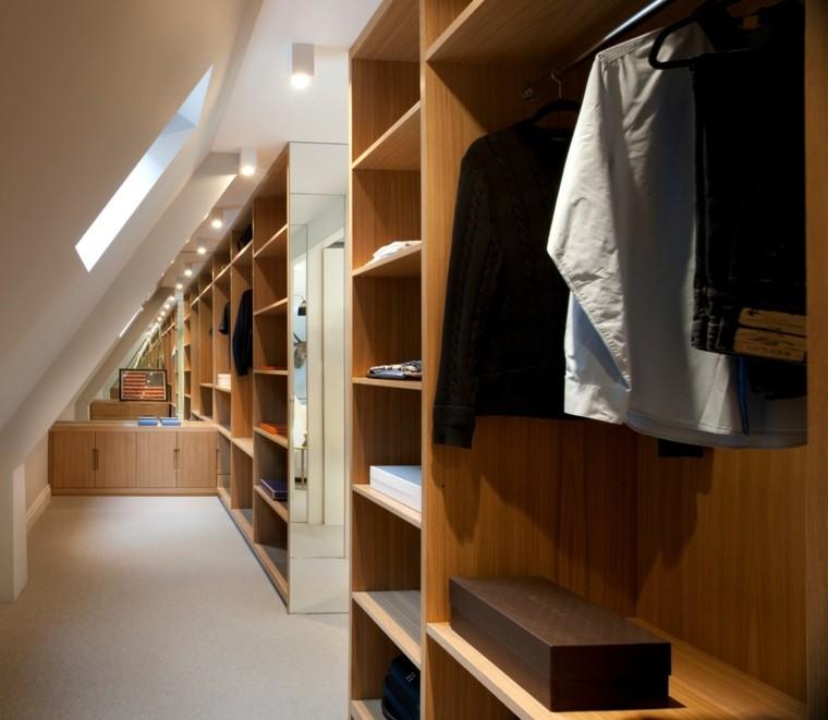 armarios roperos atico diseno madera estrecho vestidor ideas