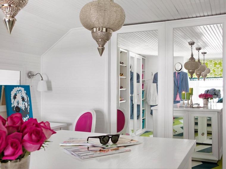 atico vestidor muebles blancos espejos isla medio ideas