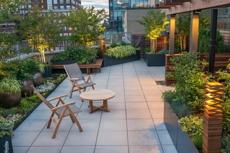 azotea diseno moderno plantas muebles madera ideas