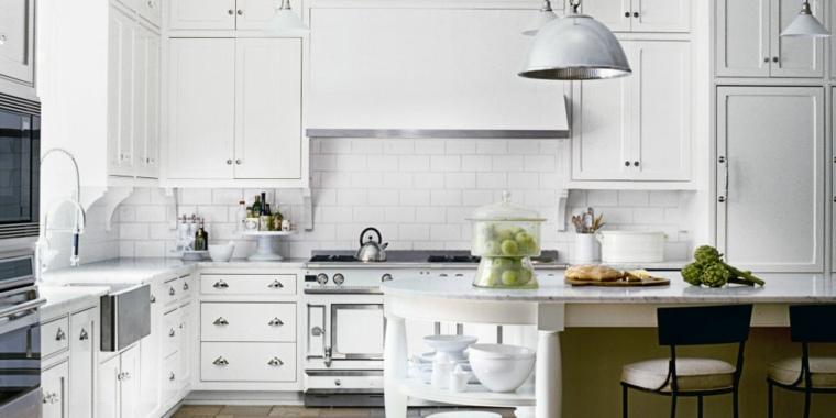 Cocina blanca 42 dise os de cocinas que te encantar n for Cocina con azulejos blancos