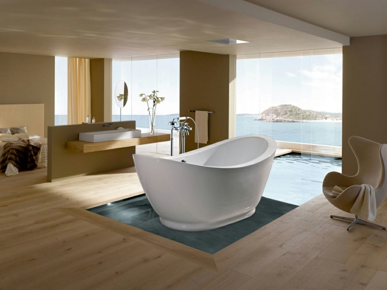 bañera madera suelos estantes cristales