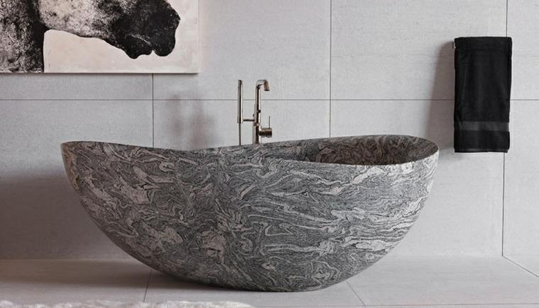 bañeras diseño colores muebles rocas contrastes