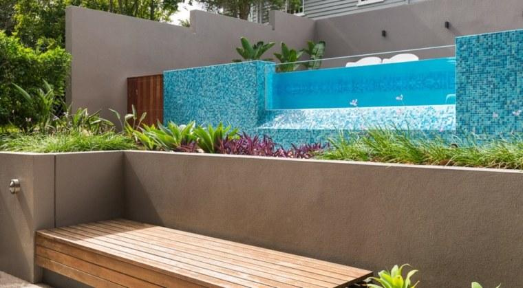 banco madera jardin piscina moderna ideas