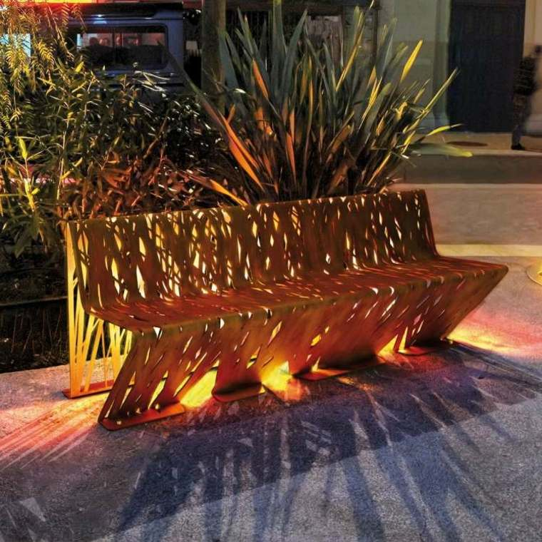 banco moderno corten luces led