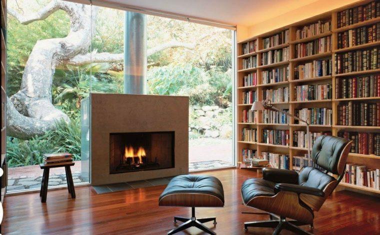 biblioteca libreria diseno moderno chimenea casa ideas