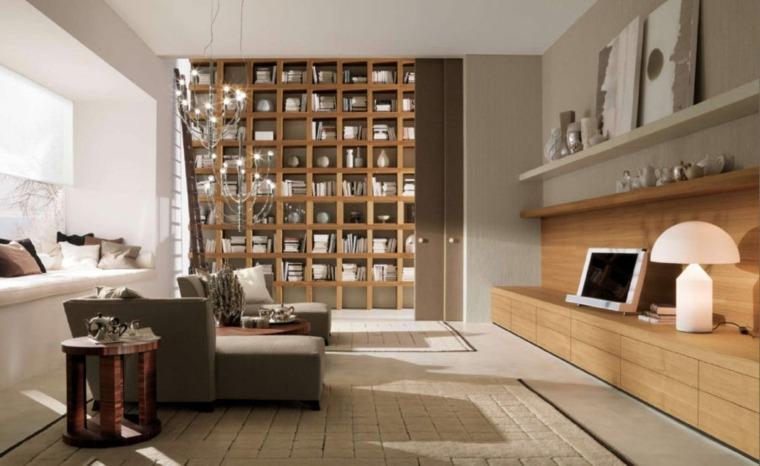 bibliotecas libreras y estanteras de madera en el saln moderno