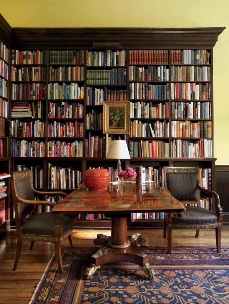 biblioteca libreria diseno moderno oficina mesa grande ideas