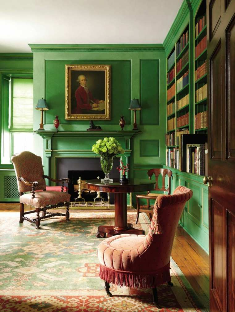 biblioteca libreria diseno moderno paredes color verde ideas