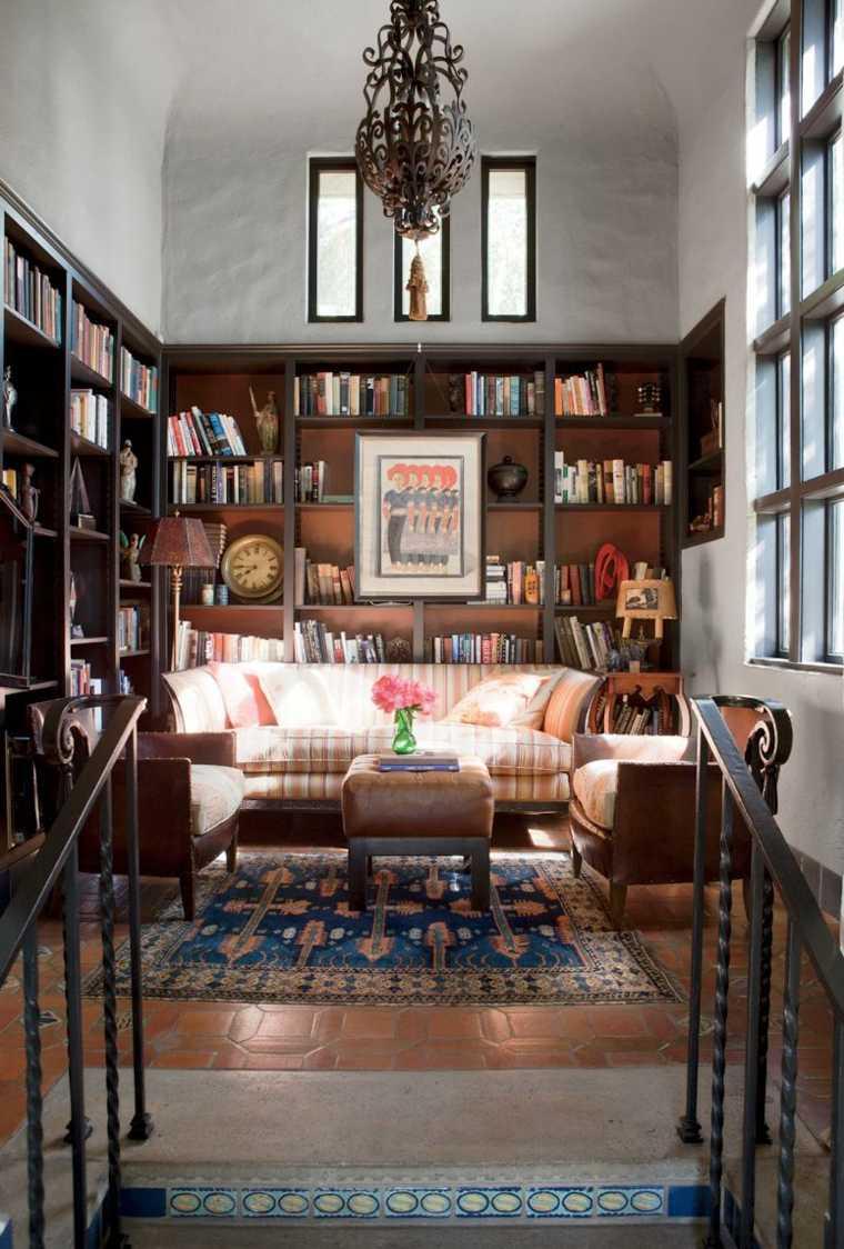 biblioteca libreria diseno moderno rustico ideas
