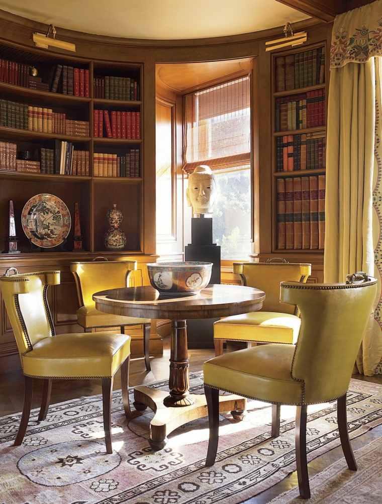 biblioteca libreria diseno moderno sillas cuero verde ideas