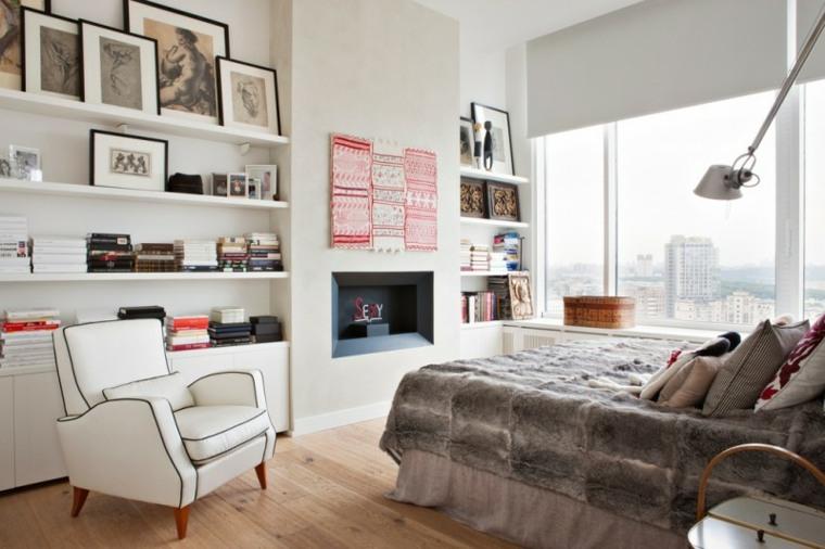 bibliotecas librerias disenos modernos dormitorio blanco ideas
