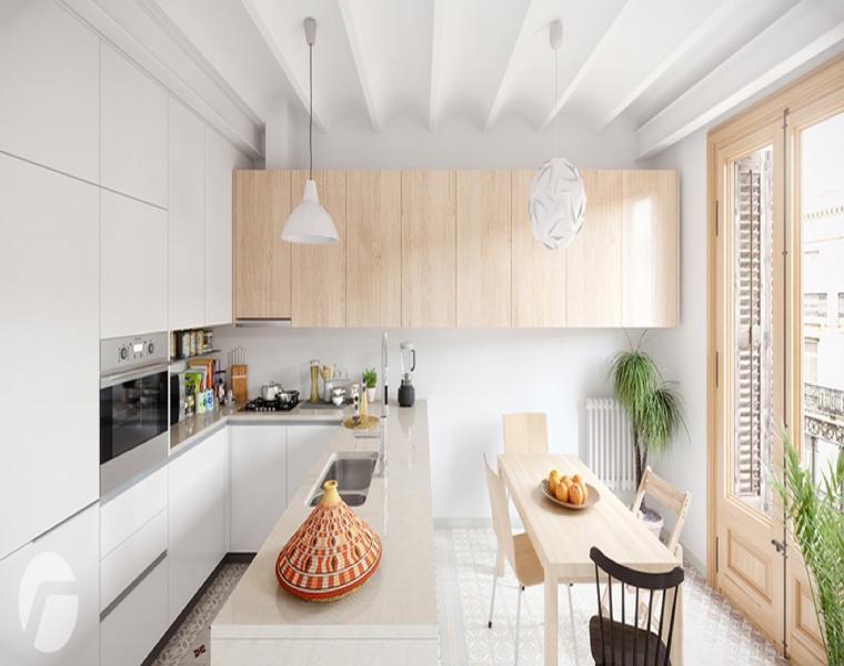 bonita cocina en blanco madera