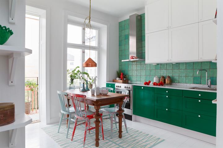 bonito diseno cocina pequena verde