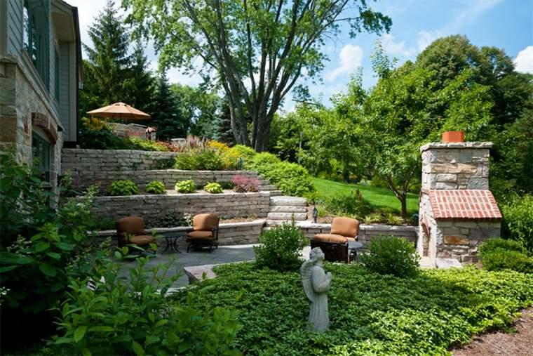bonito jardin terrazas piedra