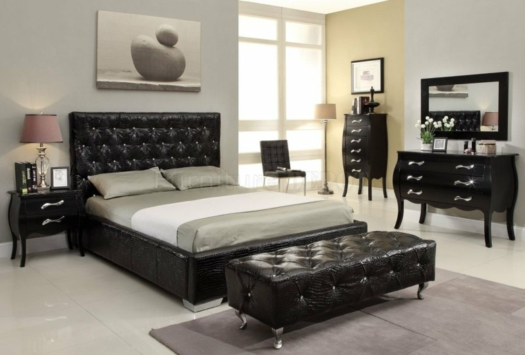 cama banco estilo capitone piel
