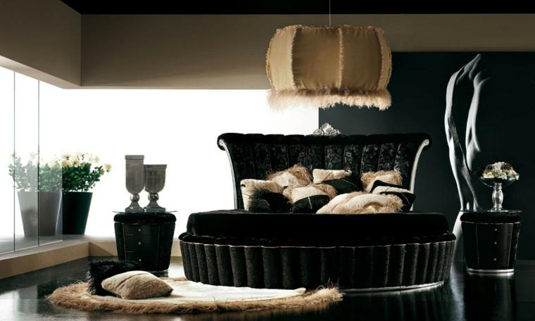 cama redonda de color negro