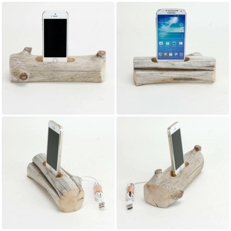 cargadores de moviles manualidades madera opciones ideas