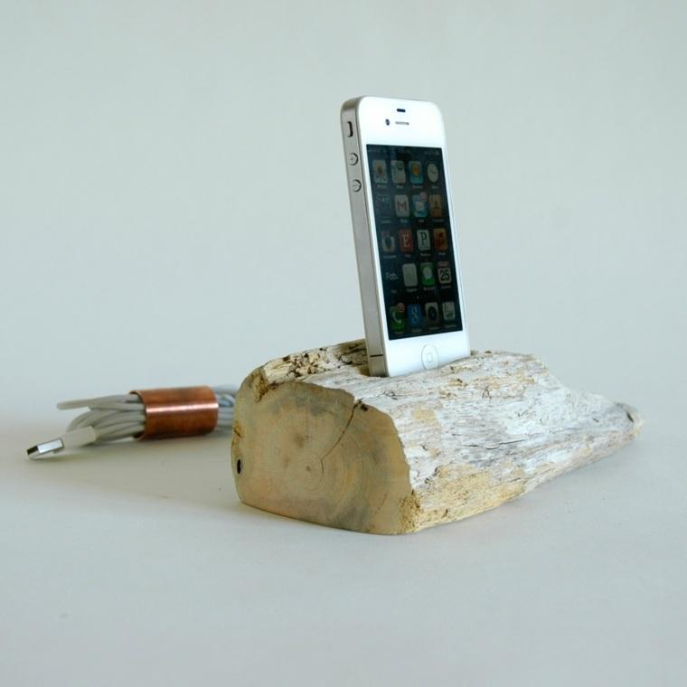 cargadores de moviles manualidades madera telefono ideas